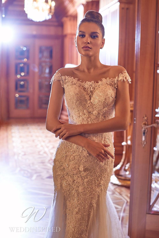 A Pollardi 2021 off the shoulder lace mermaid wedding dress