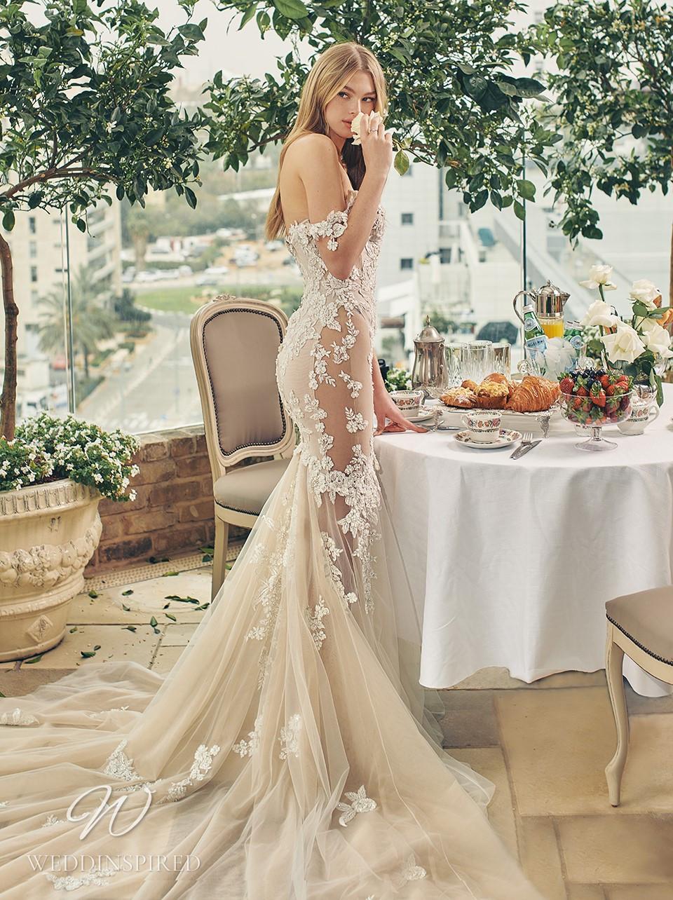 A Galia Lahav 2022 blush lace and tulle off the shoulder mermaid wedding dress