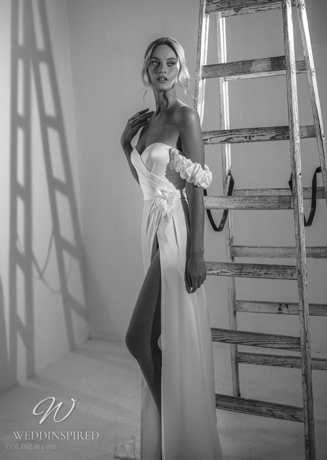 A Gali Karten 2021 strapless satin mermaid wedding dress