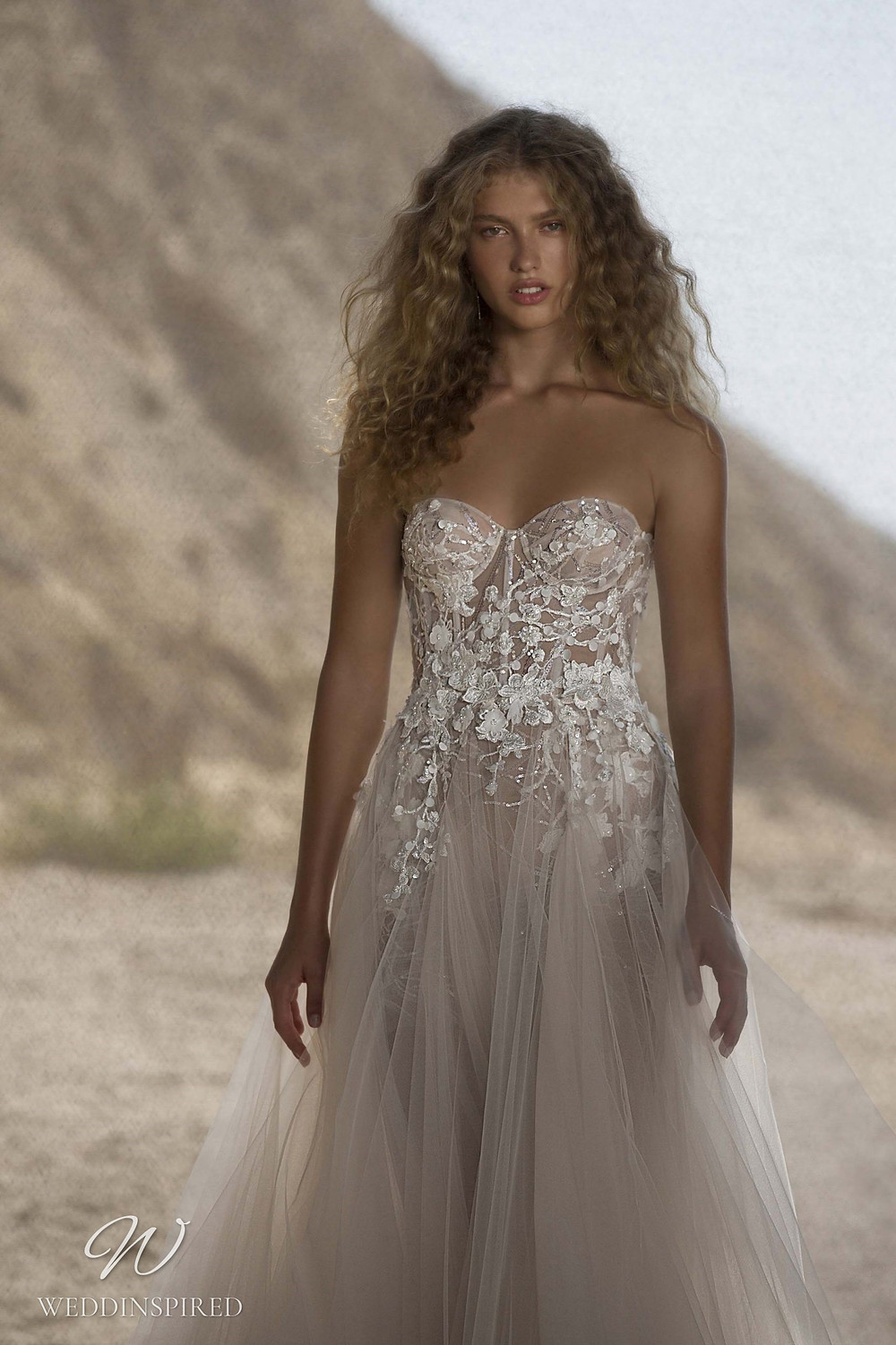 A Muse by Berta strapless beach ivory lace and tulle A-line wedding dress
