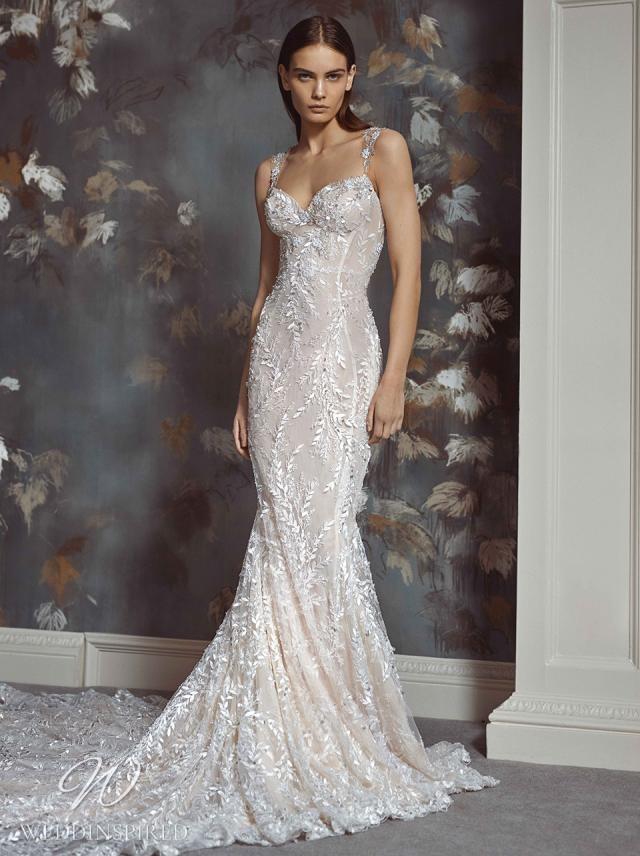 A Galia Lahav 2021 lace mermaid wedding dress with straps and a train