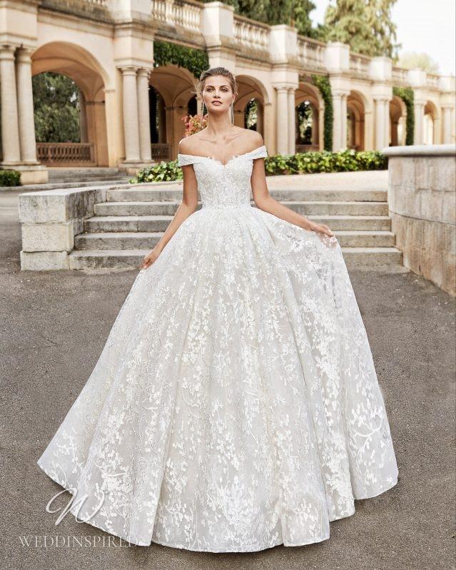 A Rosa Clara 2021 lace off the shoulder A-line wedding dress