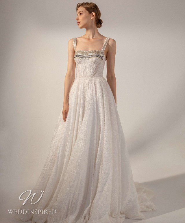 A Rara Avis 2021 sparkly A-line chiffon wedding dress with straps