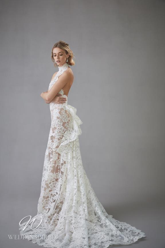 An Oscar de la Renta 2022 lace halterneck mermaid wedding dress