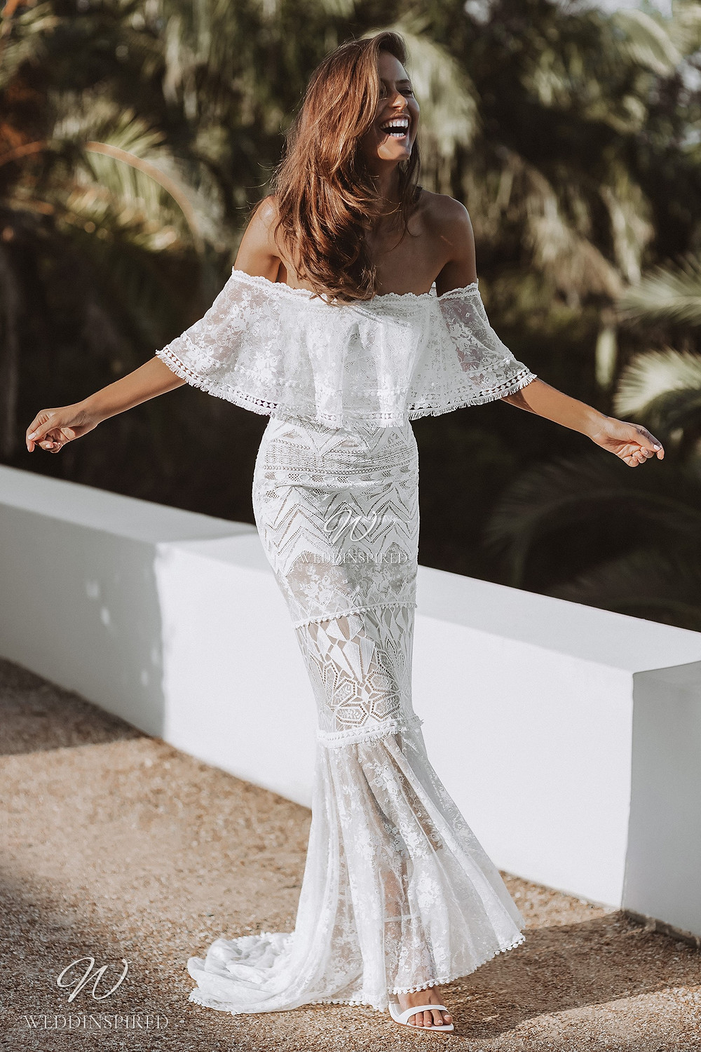 A Grace Loves Lace off the shoulder boho gypsy style lace mermaid wedding dress