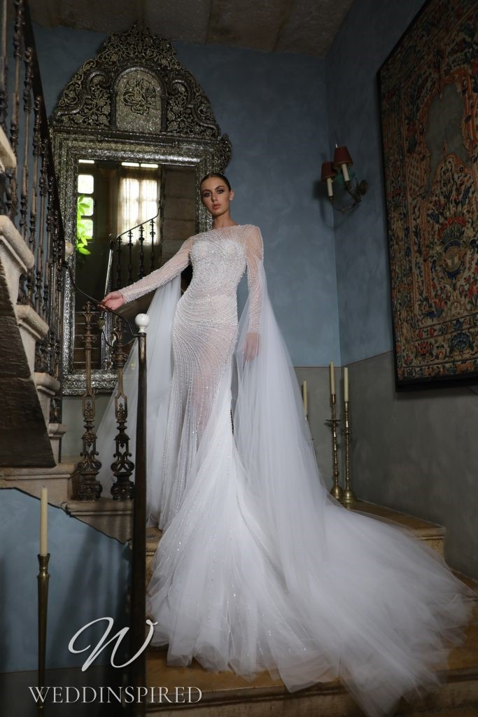 A Georges Hobeika 2021 lace and tulle mermaid wedding dress with long sleeves