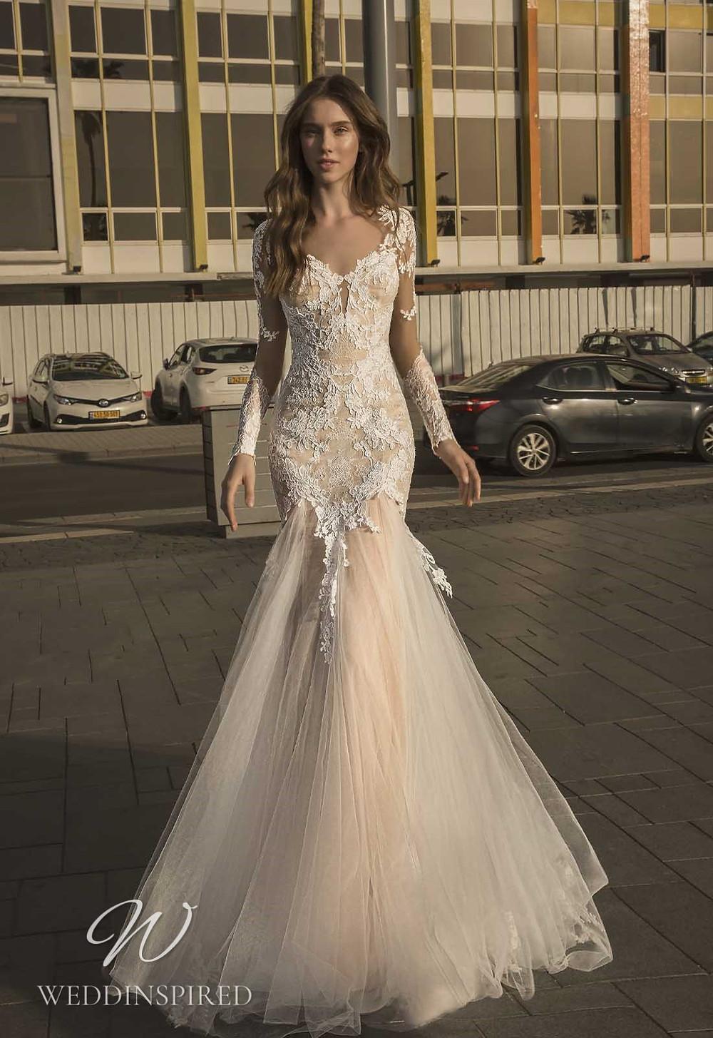 A Pnina Tornai 2021 lace mermaid wedding dress with long sleeves