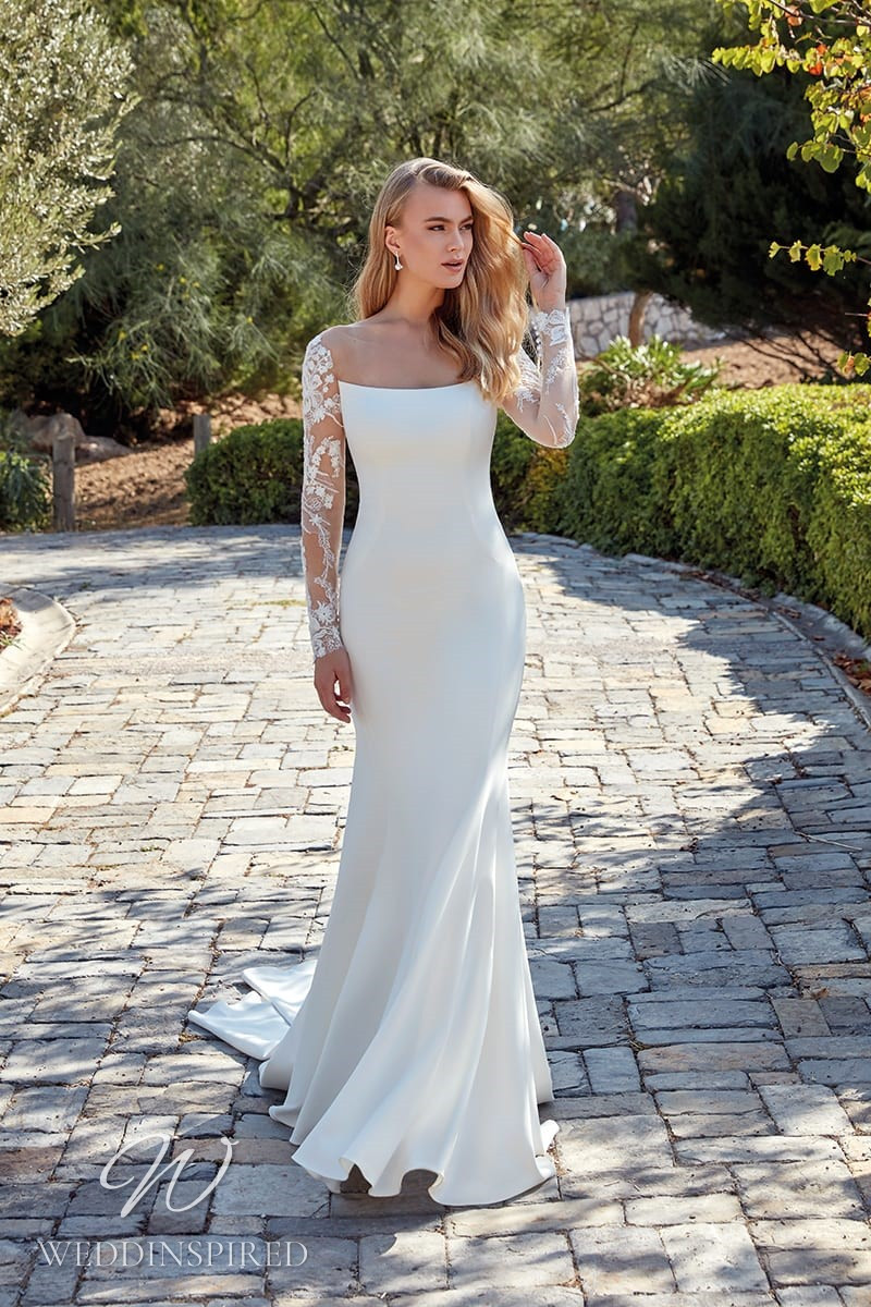 An Eddy K 2022 satin and lace mermaid wedding dress with long sleeves