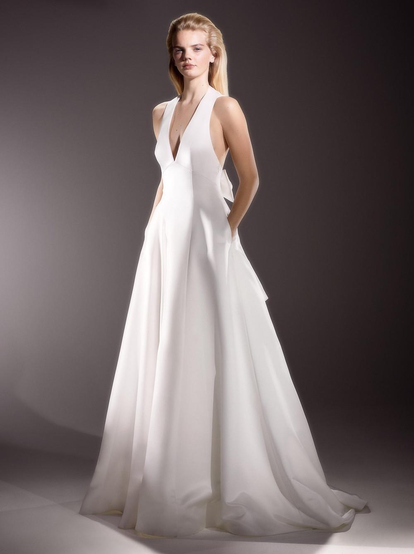 A Viktor & Rolf simple crepe halterneck A-line wedding dress with pockets