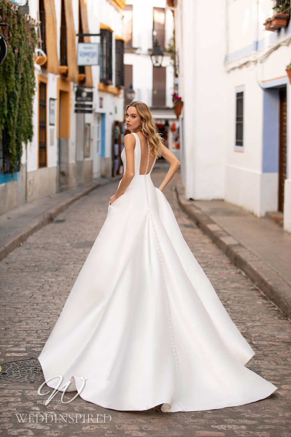 An Essential by Lussano 2021 backless satin princess wedding dress