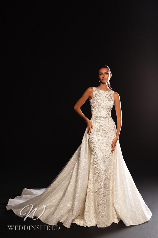 A WONÁ Concept 2021 sparkly mermaid wedding dress with a detachable skirt