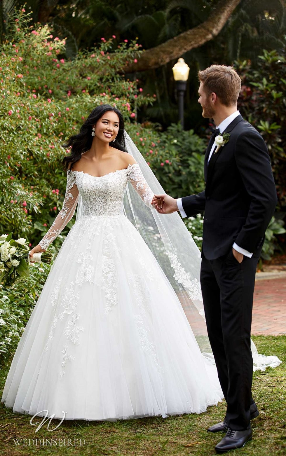 An Essense of Australia off the shoulder lace and tulle princess ball gown wedding dress with long sleeves