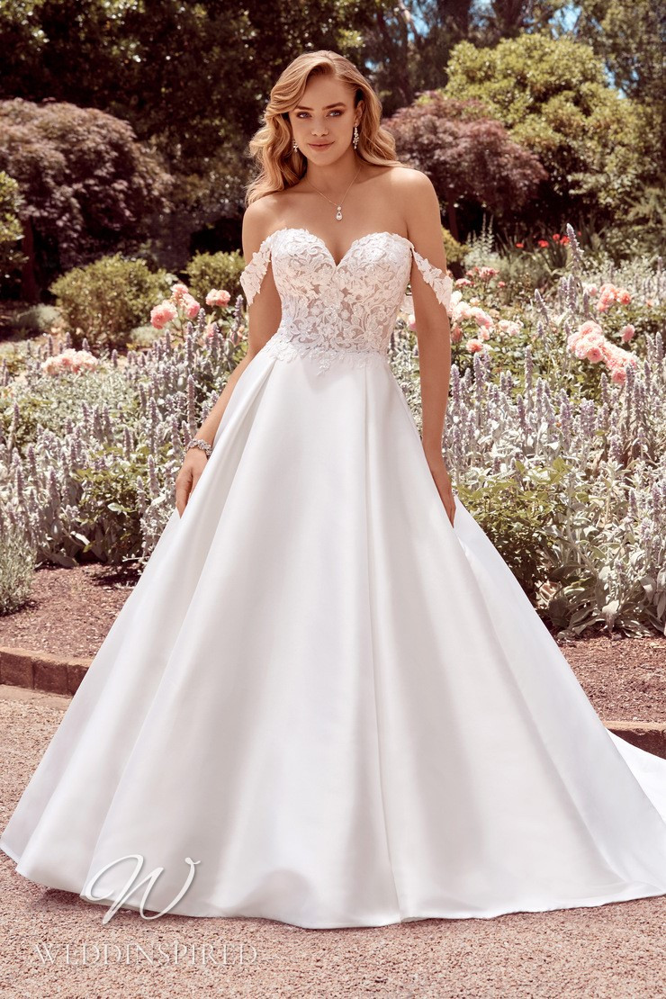 A Sophia Tolli 2021 off the shoulder lace and satin princess wedding dress