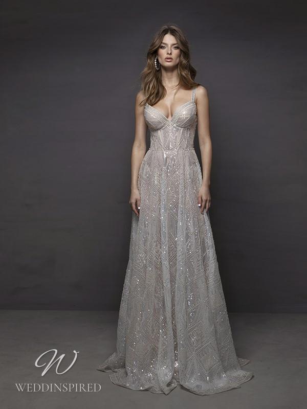 A Riki Dalal 2021 sparkly beaded tulle A-line wedding dress