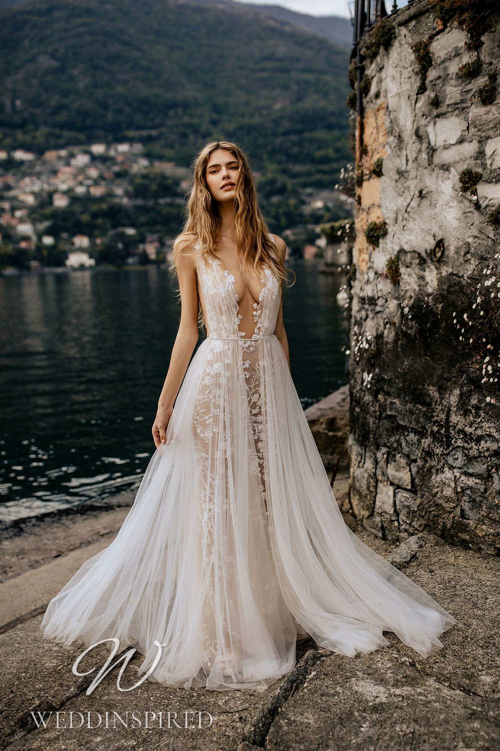 A Berta 2022 blush tulle and lace A-line wedding dress