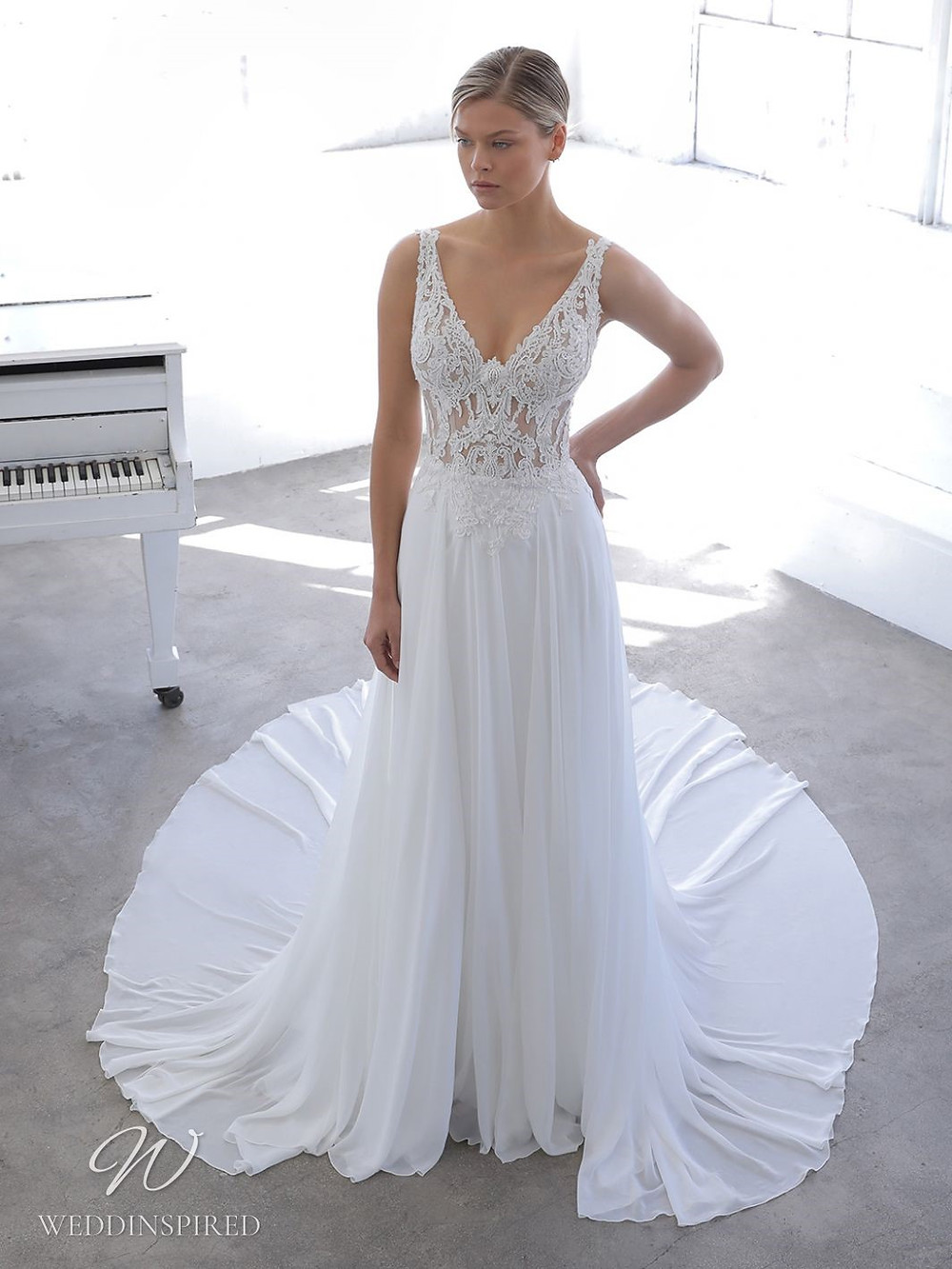 A Blue by Enzoani 2021 lace and crepe sheath wedding dress with straps and a v neck