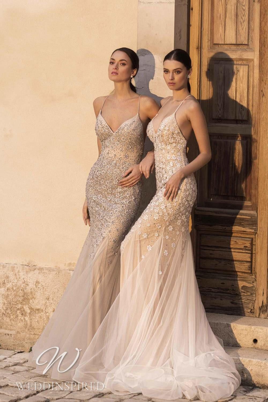 A Lussano 2021 blush mermaid wedding dress