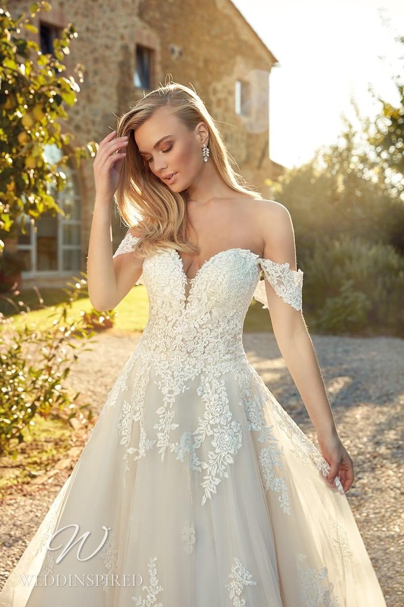 An Eddy K 2021 lace off the shoulder A-line wedding dress