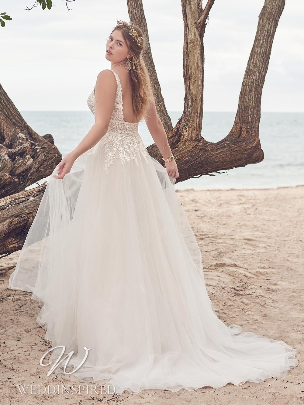 A Rebecca Ingram 2021 plus size lace and chiffon A-line wedding dress