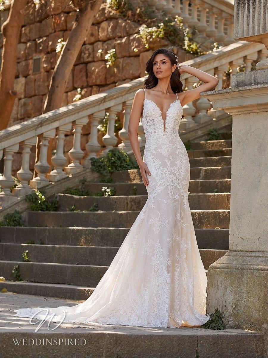 A Pronovias Privée 2021 lace mermaid wedding dress with straps and a v neck