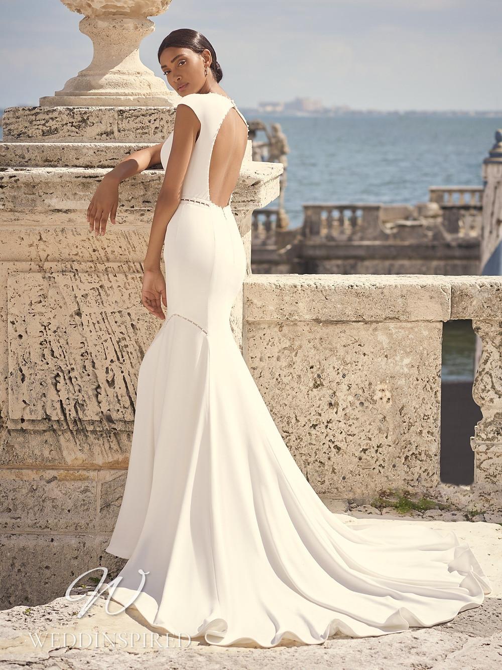 A Sottero & Midgley 2021 simple crepe mermaid wedding dress with a keyhole back