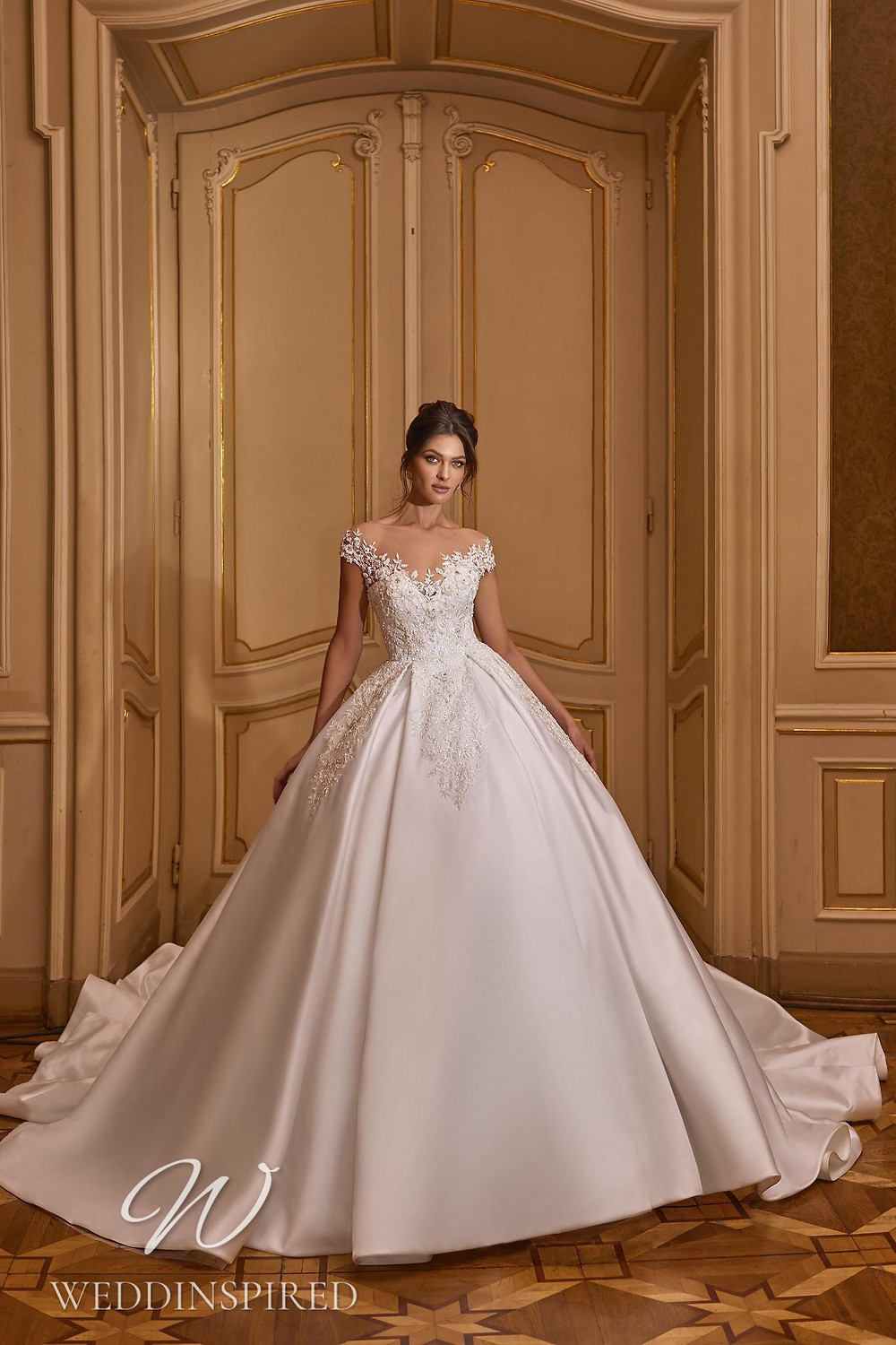 A Ricca Sposa 2022 off the shoulder lace and satin princess wedding dress