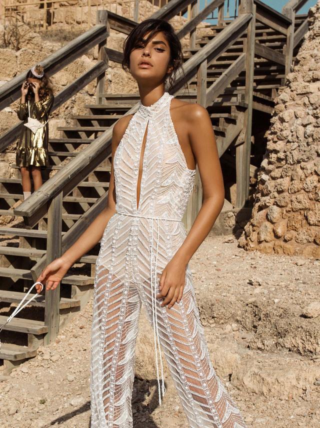 A Galia Lahav mesh illusion wedding jumpsuit or pantsuit