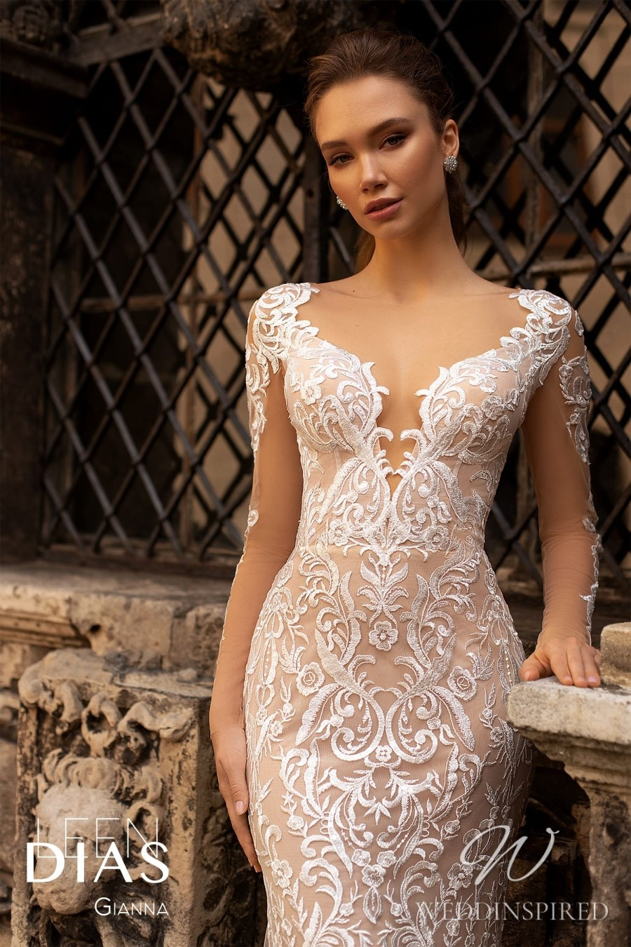 A Leen Dias 2021 nude lace mermaid wedding dress