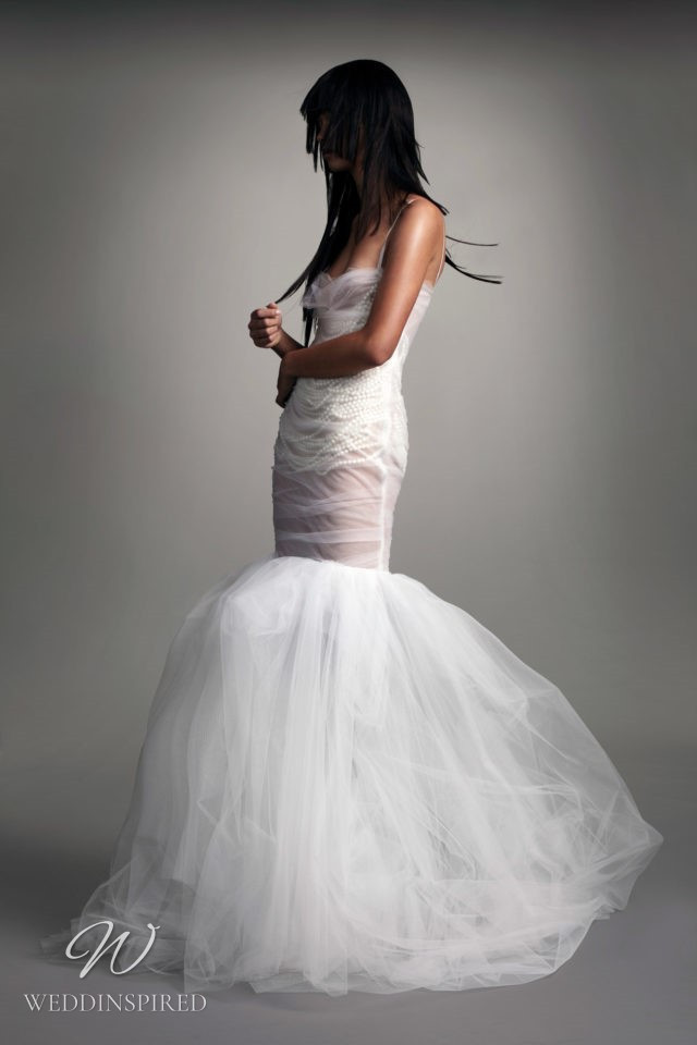 A Vera Wang Fall 2021 tulle mermaid wedding dress with straps and pearls