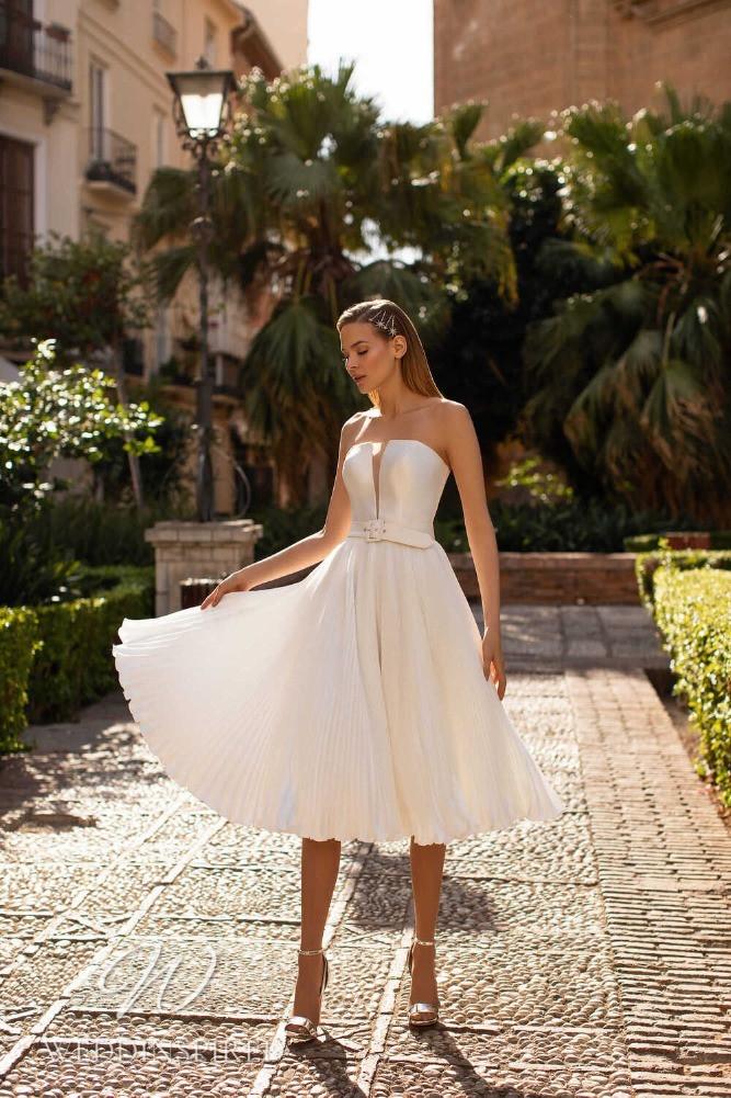 A Nora Naviano 2021 satin pleated tea length wedding dress