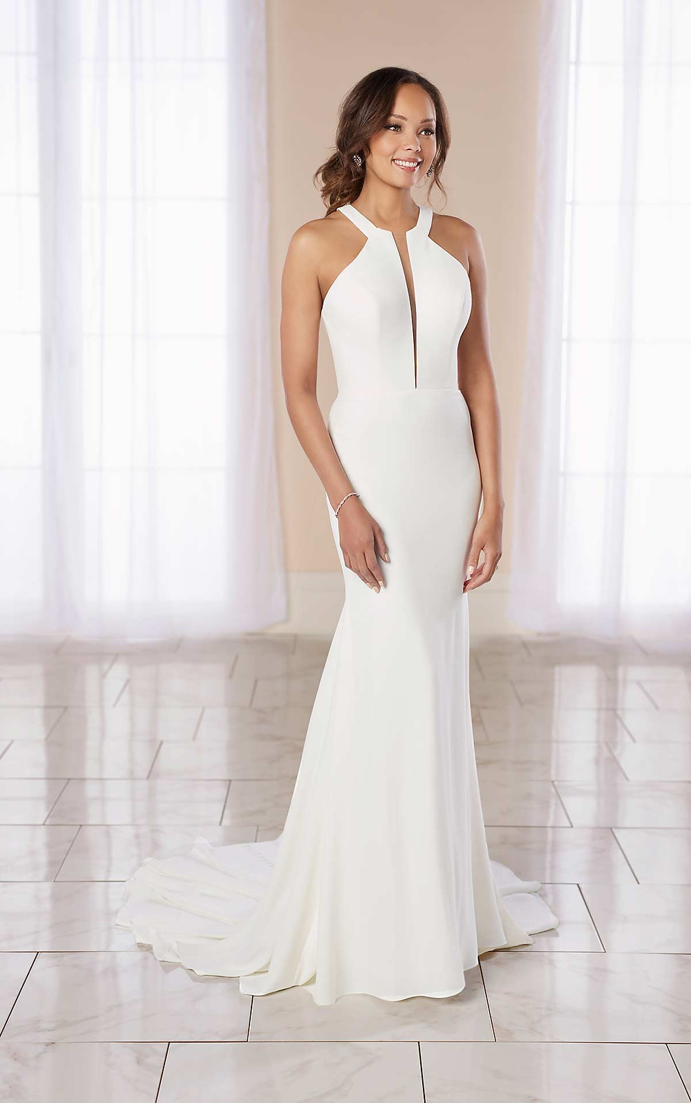 A Stella York 2020 simple crepe mermaid fit and flare wedding dress