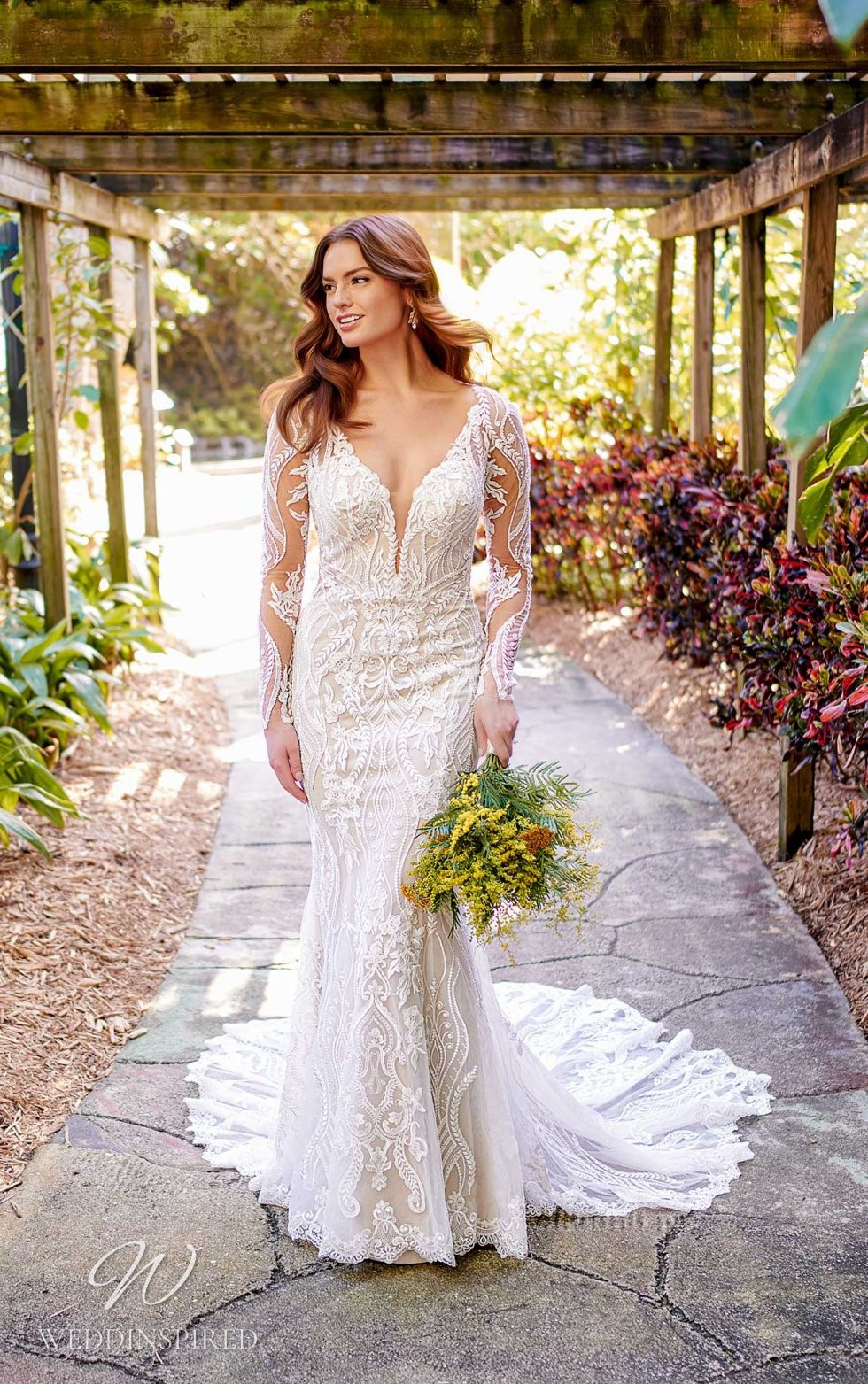 An Essense of Australia lace mermaid wedding dress with long illusion sleeves