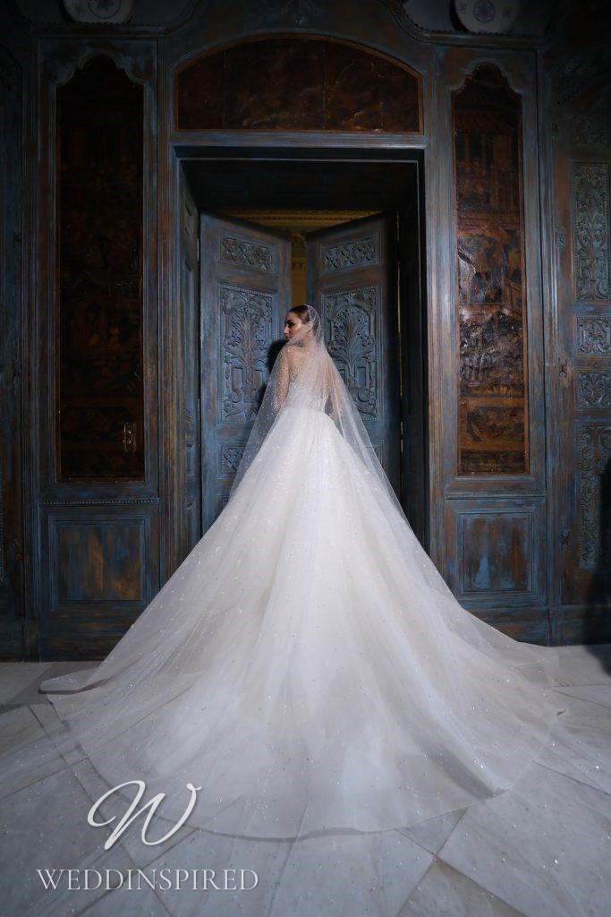 A Georges Hobeika 2021 tulle princess wedding dress with long sleeves