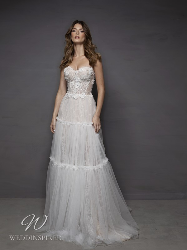 A Riki Dalal 2021 strapless lace and tulle A-line wedding dress