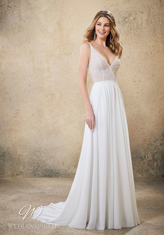 A Madeline Gardner beaded chiffon A-line wedding dress