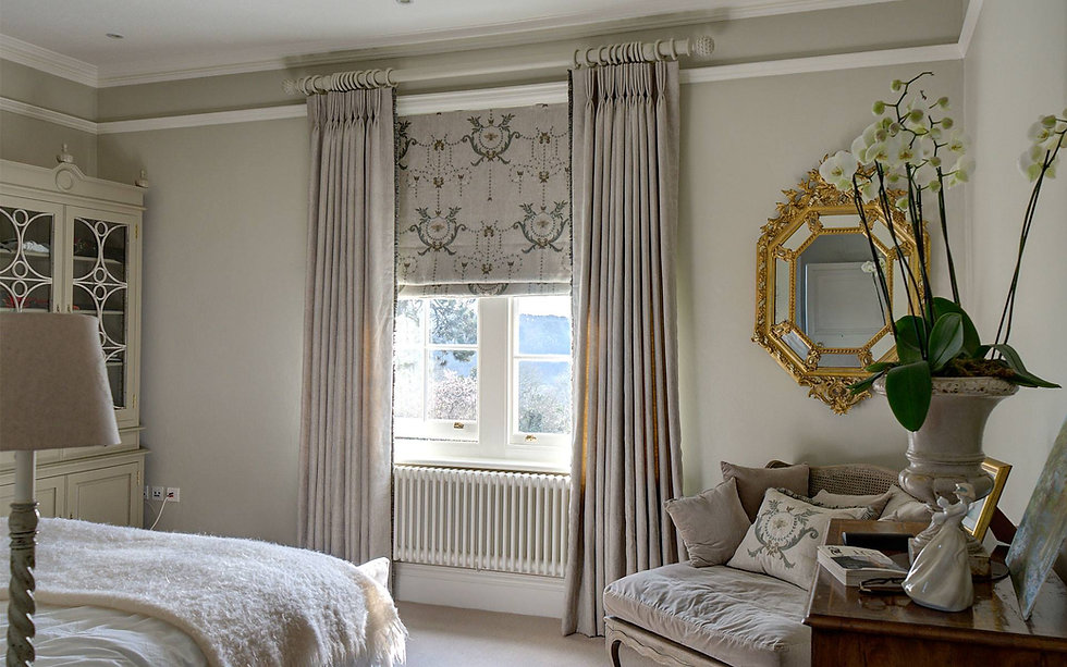 Beautiful linen full length curtains with complimentary Roman blind.