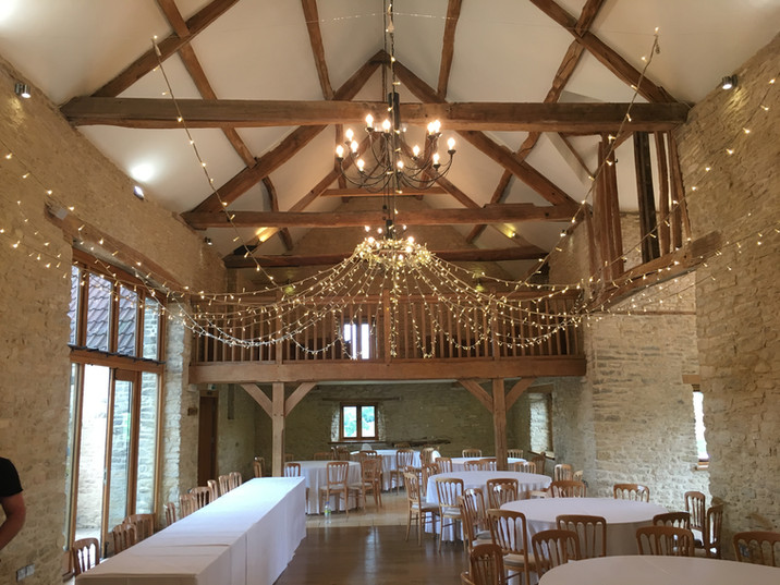 Fairy Lighting Kingscote barn.JPG
