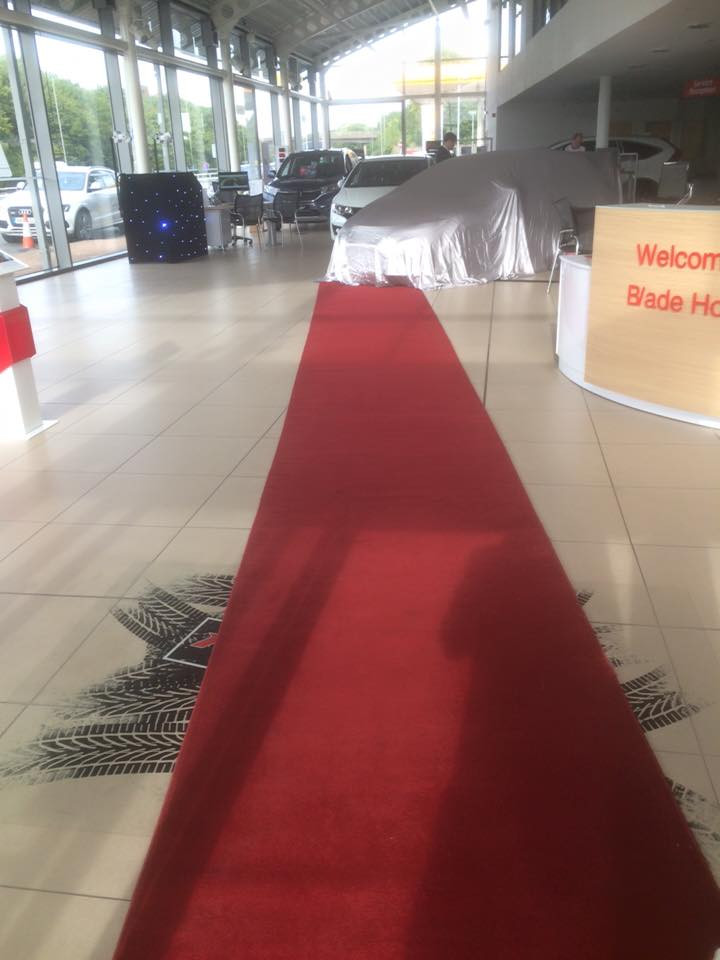 Red Carpet for car show room Hire