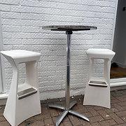 White plastic stall