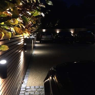 Front Driveway Lighting & Slatted Fence