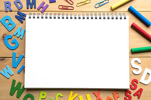 Blank open notebook with numbers and Eng