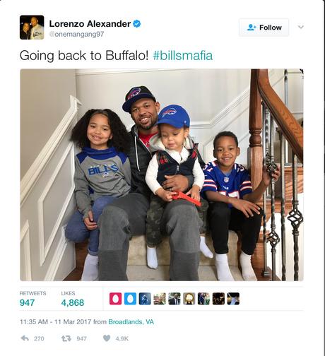 Lorenzo Alexander signs $9 Million Deal With Buffalo