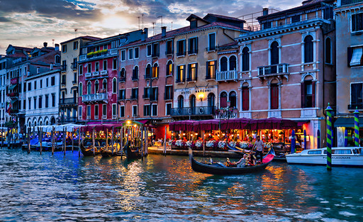 Restaurants on the Grand Canal, Venice Italy
