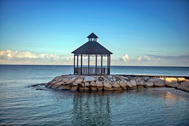 Gazebo & Caribbean Sea, Montego Bay, Jamaica