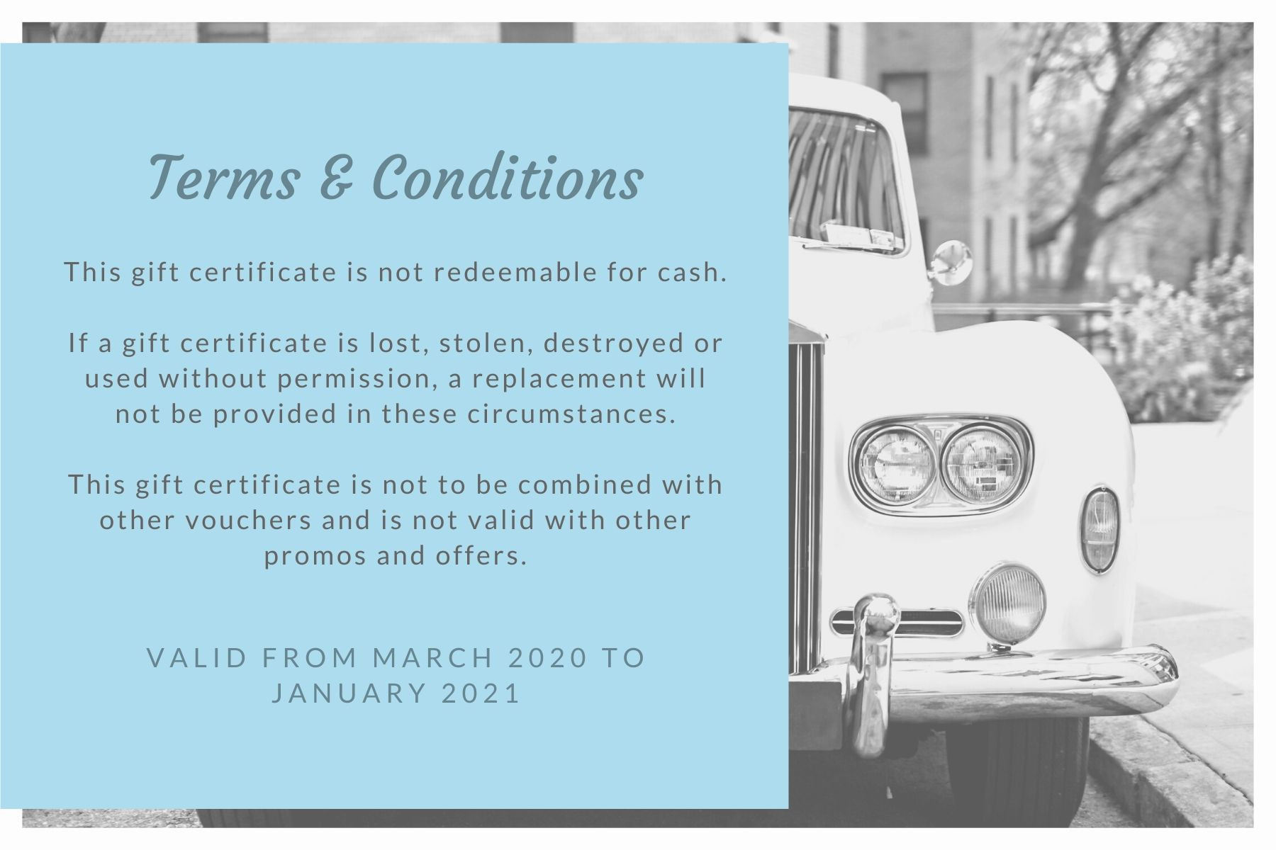 Wedding Gift Certificate Terms & Conditions