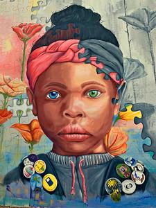 Girl Puzzle Graffiti Mural