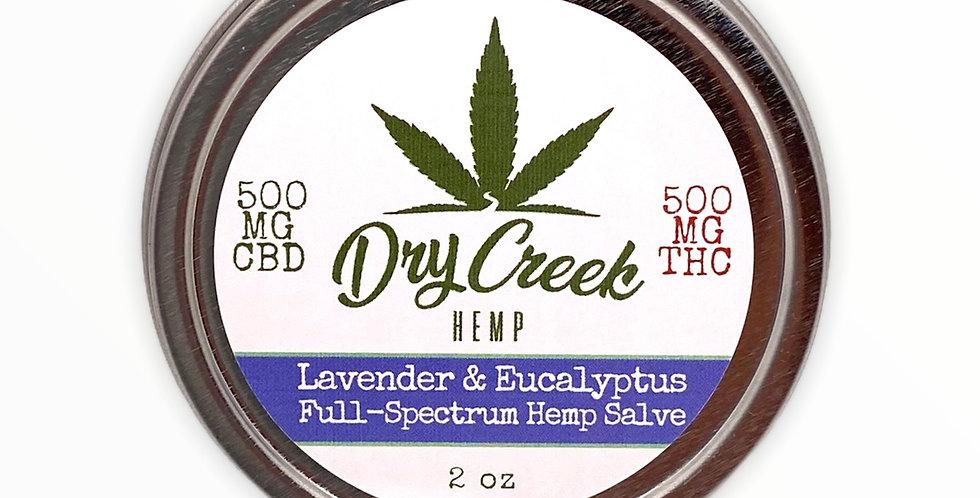 Lavender & Eucalyptus Salve- 1:1 500mg Delta-8 THC/ 500mg CBD Topical Relief