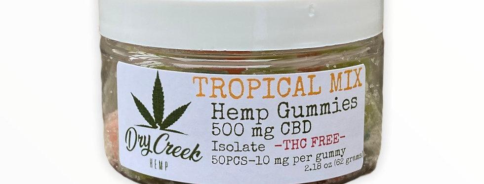 Tropical Mix Isolate (THC Free) Hemp Gummies - 500mg