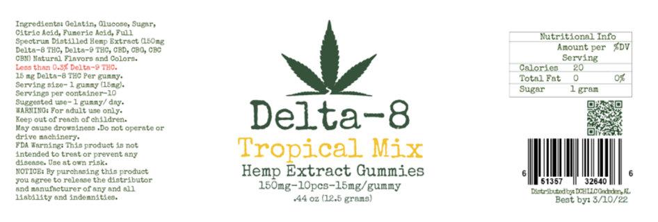 Delta Eight-10 count-Tropical Mix-Gummies