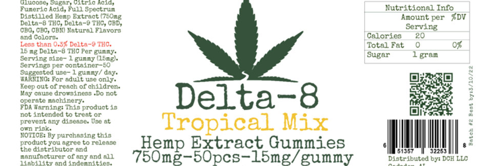 Delta Eight-50 count-Tropical Mix Gummies